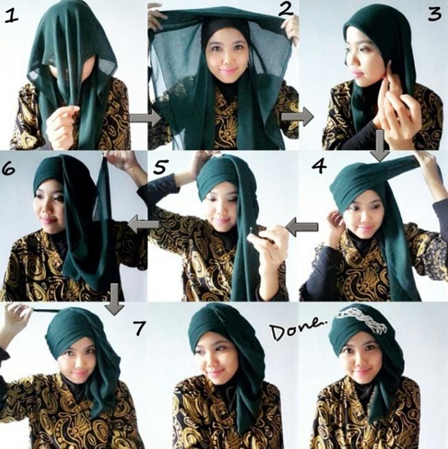 Tutorial hijab kebaya simpel untuk lebaran